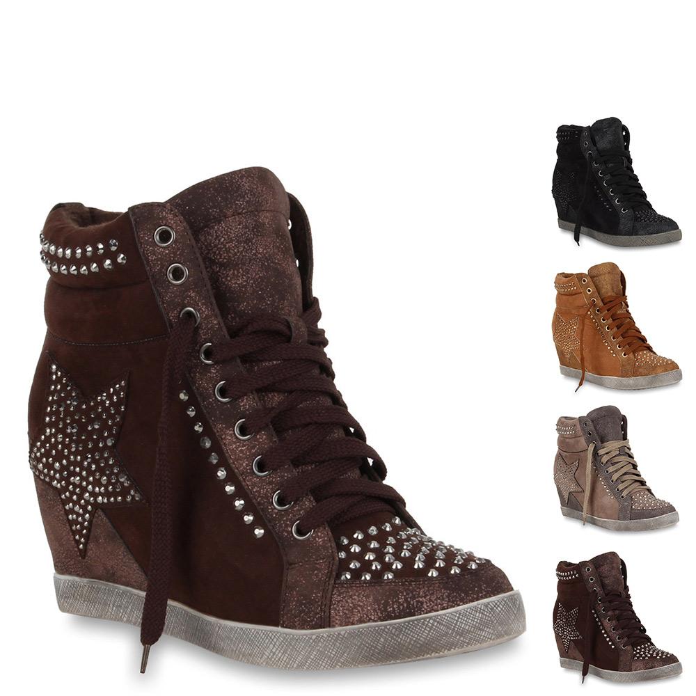 2b85f8273e02a3 Das Bild wird geladen Damen-Sneaker-Wedges-Sportliche-Keilabsatz -Stiefeletten-Schuhe-70092-