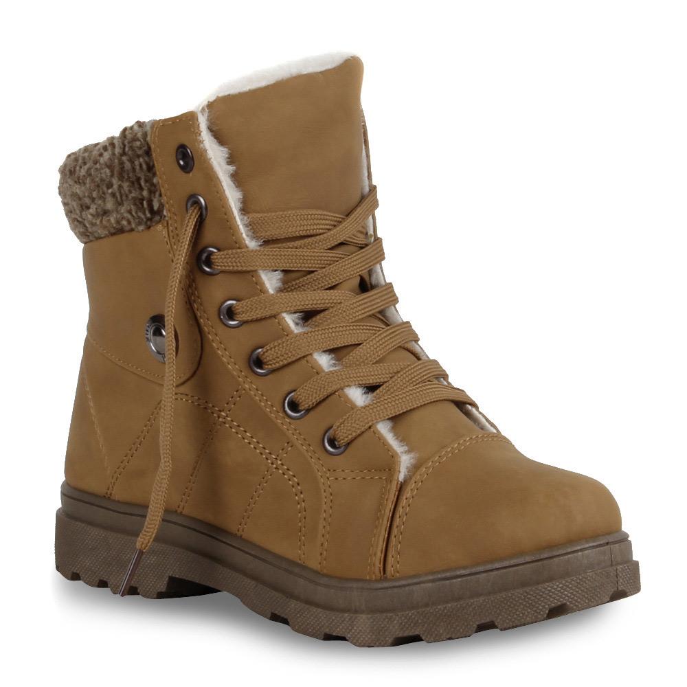 Gefuetterte-Damen-Stiefeletten-Worker-Boots-Schnuerschuhe-70422-Gr-36-41-Top