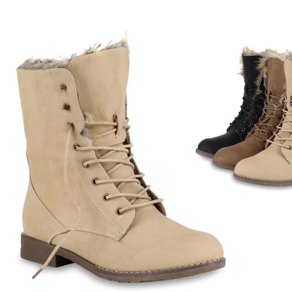 a6c17cefa97a57 Das Bild wird geladen Damen-Worker-Boots-Stiefeletten -Kunstpelz-Warm-Gefuettert-70471-
