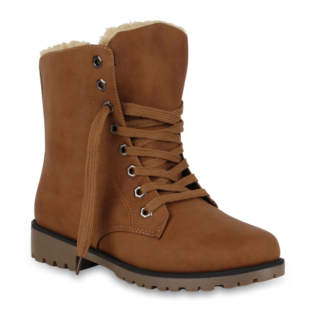 Damen-Winter-Stiefeletten-Worker-Boots-Gefuetterte-Stiefel-70497-Gr-36-41-Schuhe