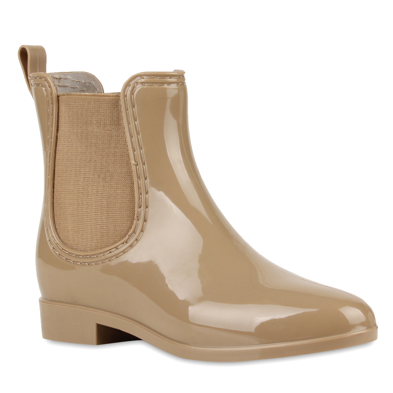 damen lack stiefeletten gummistiefel chelsea boots schuhe. Black Bedroom Furniture Sets. Home Design Ideas