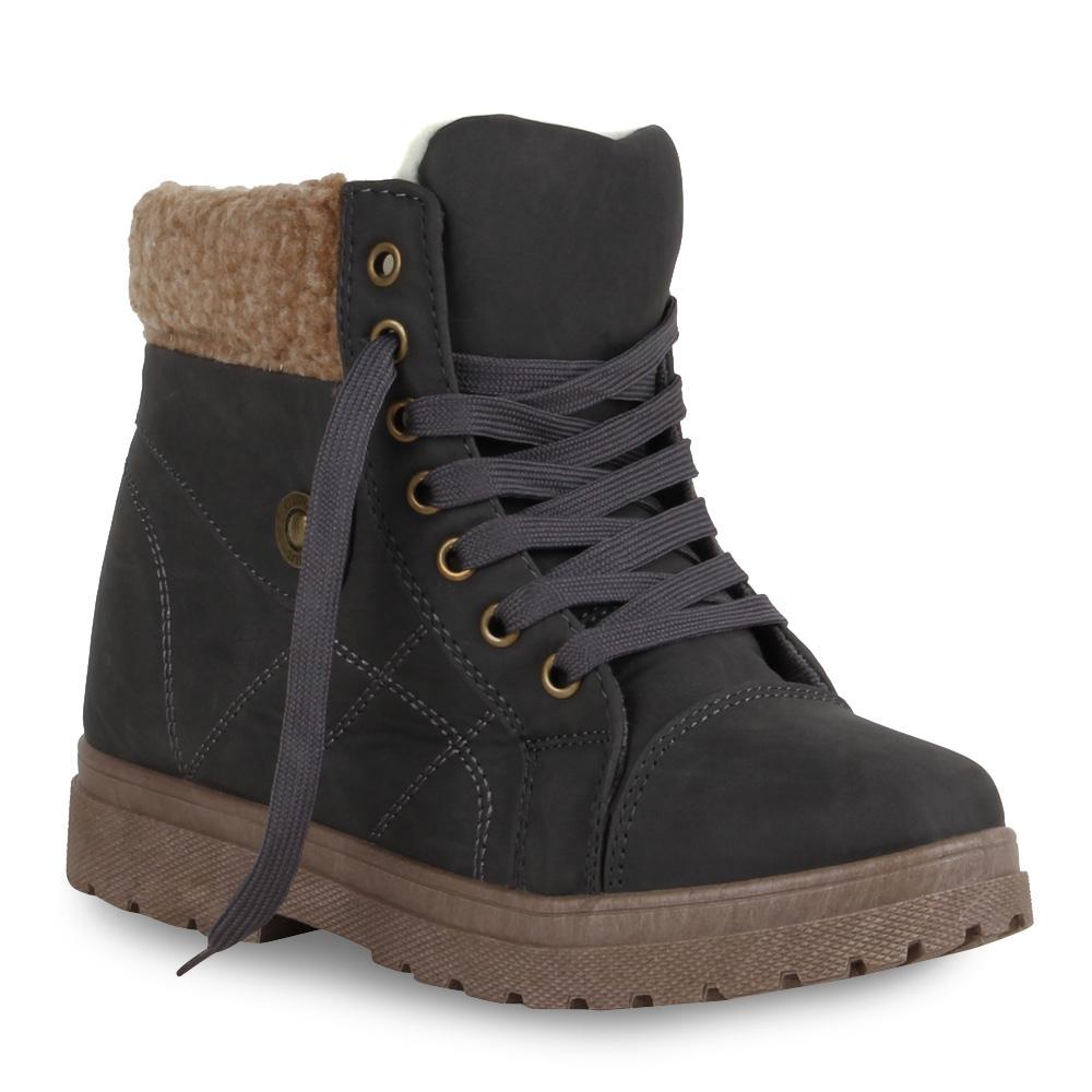 Warme-Damen-Stiefeletten-Outdoor-Schnuerer-Gefuettert-70105-Gr-35-41-Schuhe