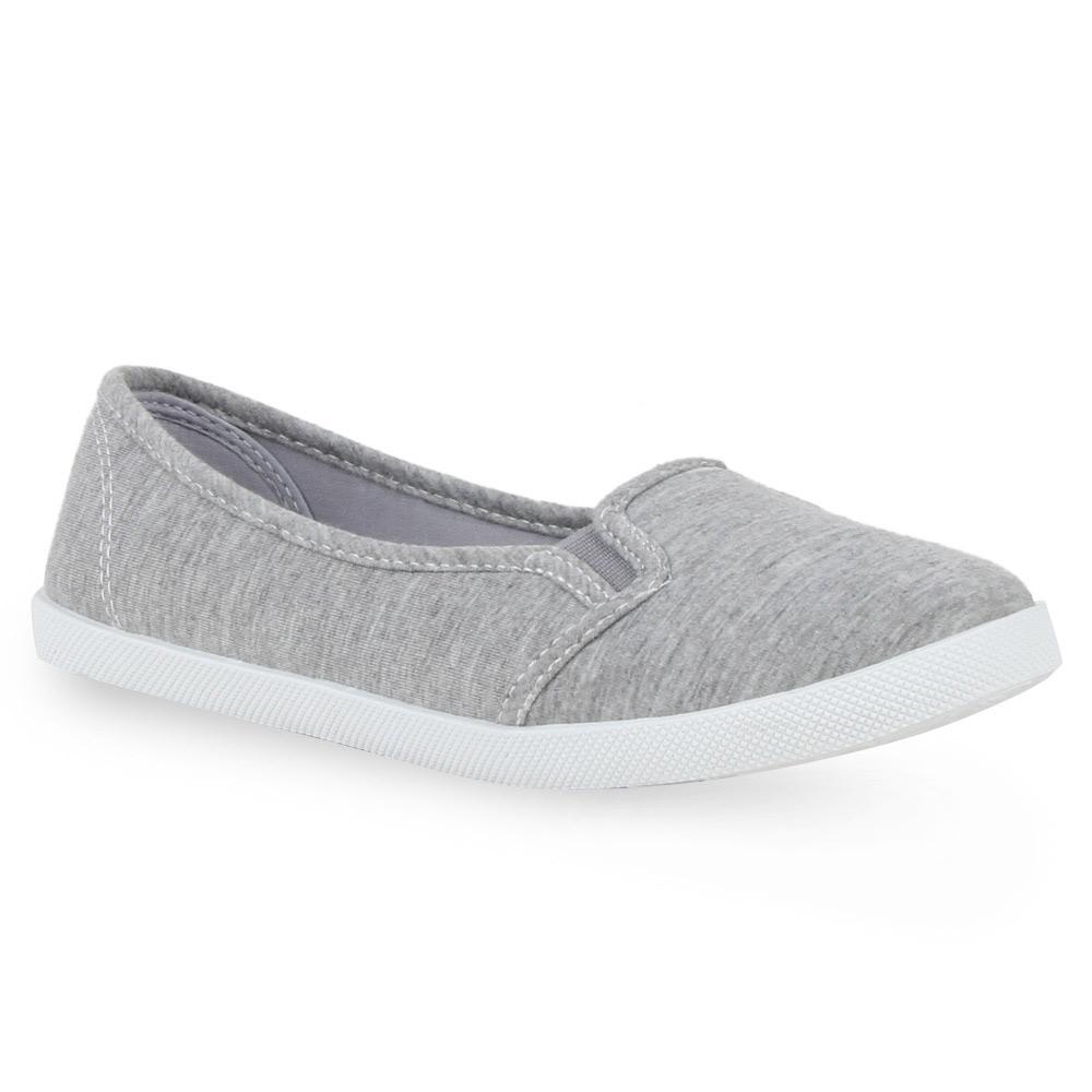 Damen Sneakers Ballerinas Stoffschuhe Flats Basic Slipper 71072 Gr. 36-41 Top