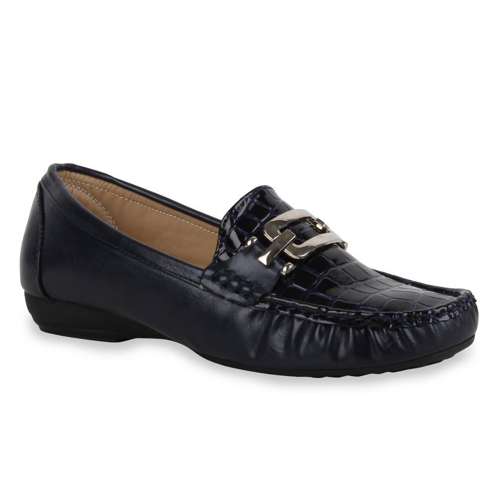 Damen Herren Mokassins Halbschuhe Slipper Lack 71291 Gr. 36 41 Stylisch Schuhe
