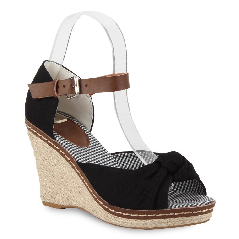 damen sandaletten keilabsatz wedges bast sommer schuhe. Black Bedroom Furniture Sets. Home Design Ideas