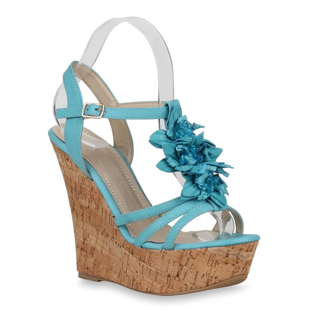 Zu Heels Details Wedges Look Sandaletten High Blumen Kork 71648 New Keilabsatz Damen LSpGMqUVz