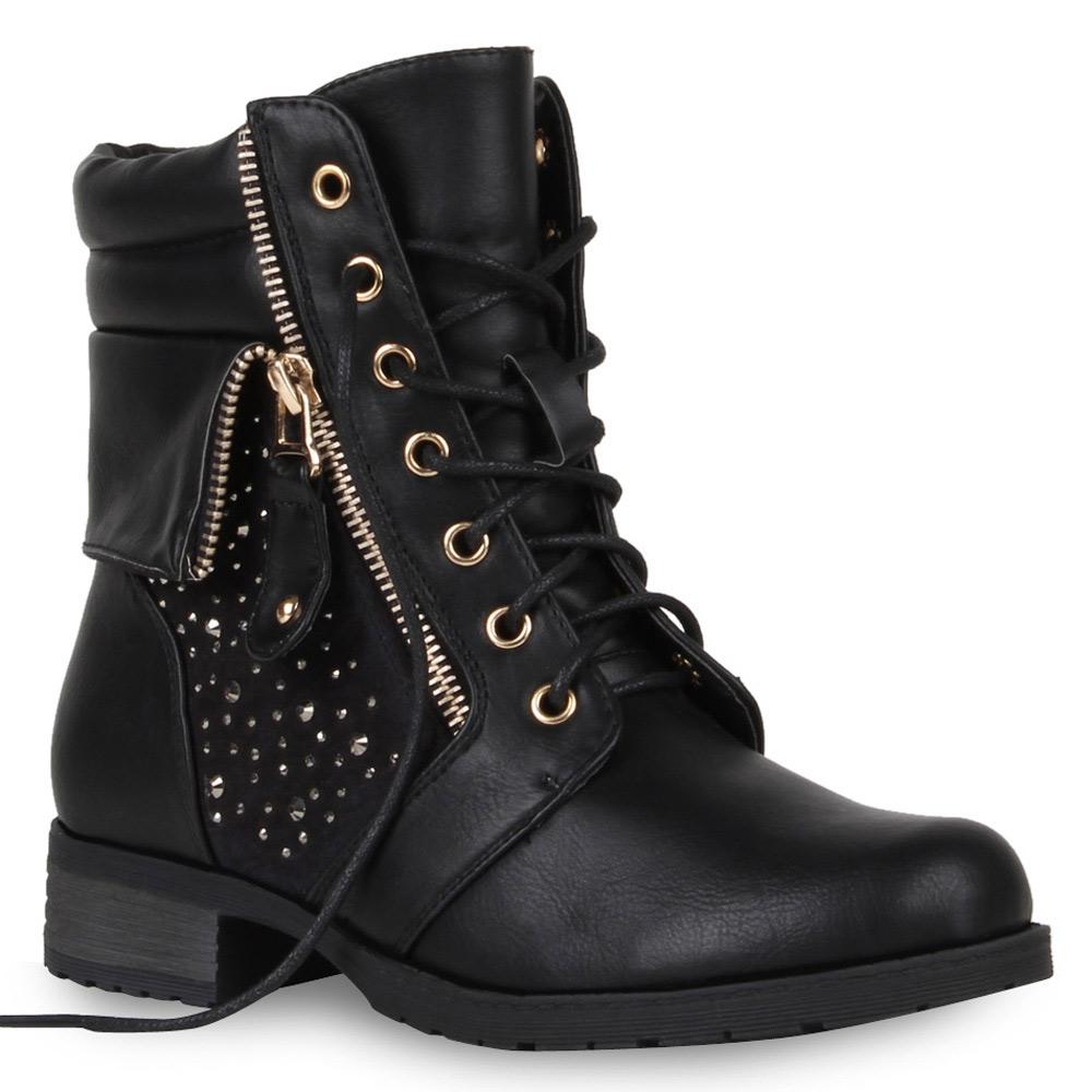 biker boots damen stiefeletten 97990 basic stiefel schuhe. Black Bedroom Furniture Sets. Home Design Ideas