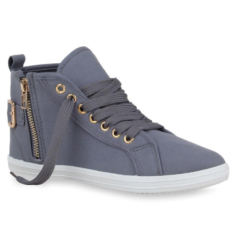 Damen Sneakers High Top Sportschuhe Zipper Stoffschuhe 75453 Top
