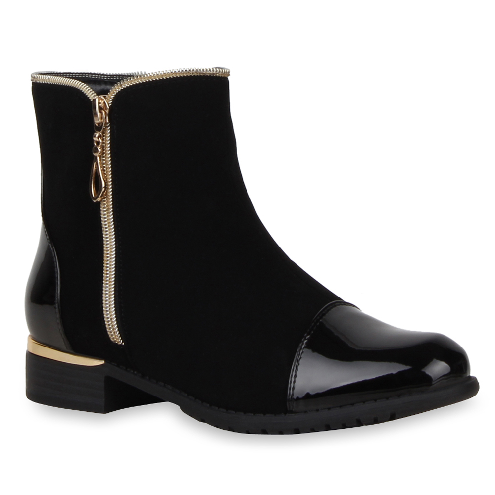 neu damen stiefeletten flache ankle boots materialmix lack. Black Bedroom Furniture Sets. Home Design Ideas