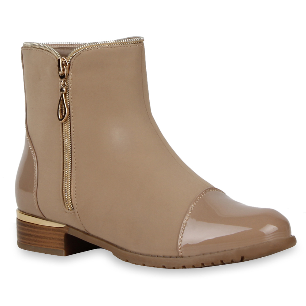 damen stiefeletten flache ankle boots materialmix lack 72961 top ebay. Black Bedroom Furniture Sets. Home Design Ideas