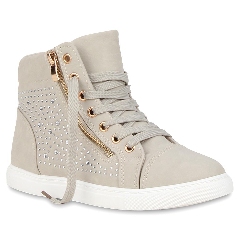 damen high top sneakers strass sportschuhe zipper 73043 top ebay. Black Bedroom Furniture Sets. Home Design Ideas