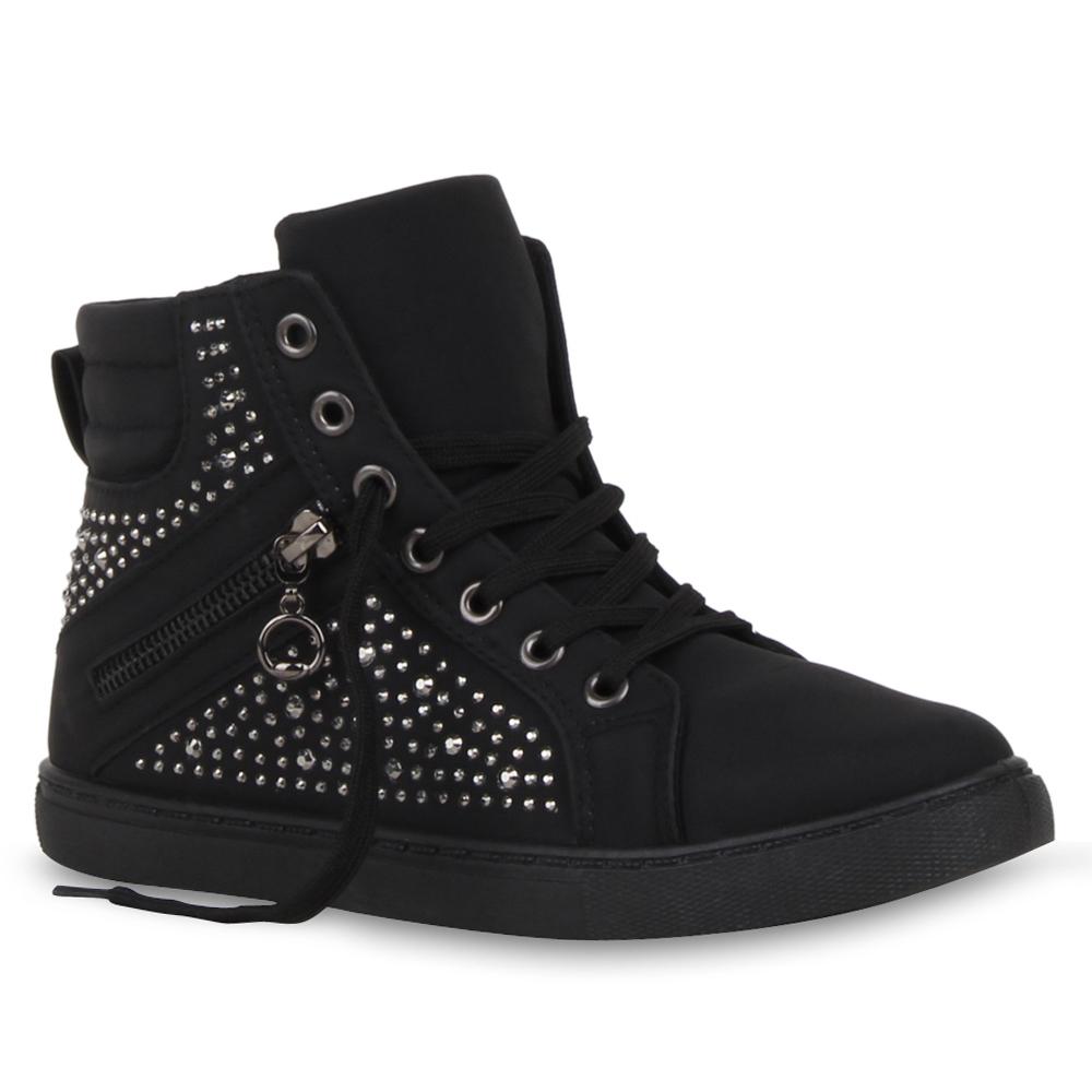 Damen High Top Sneakers Strass Zipper Sportschuhe 73103 Schuhe