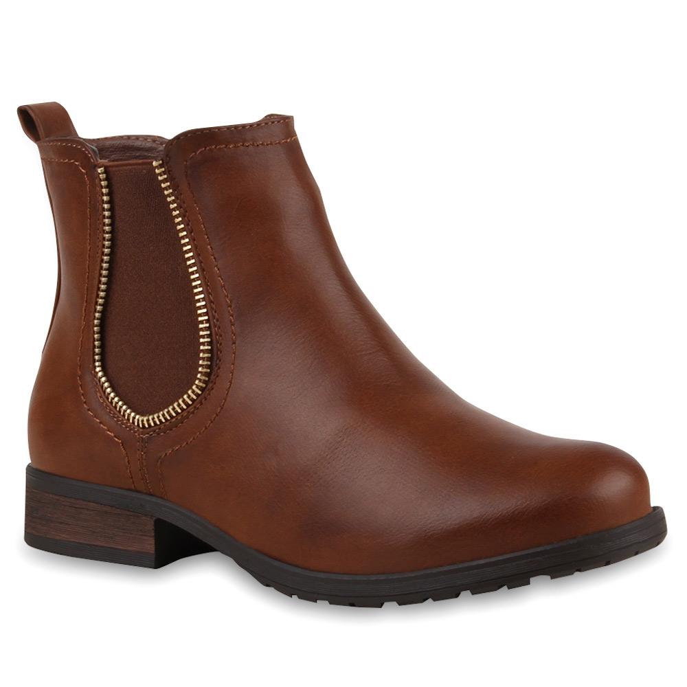 damen stiefeletten moderne chelsea boots lederoptik schuhe. Black Bedroom Furniture Sets. Home Design Ideas
