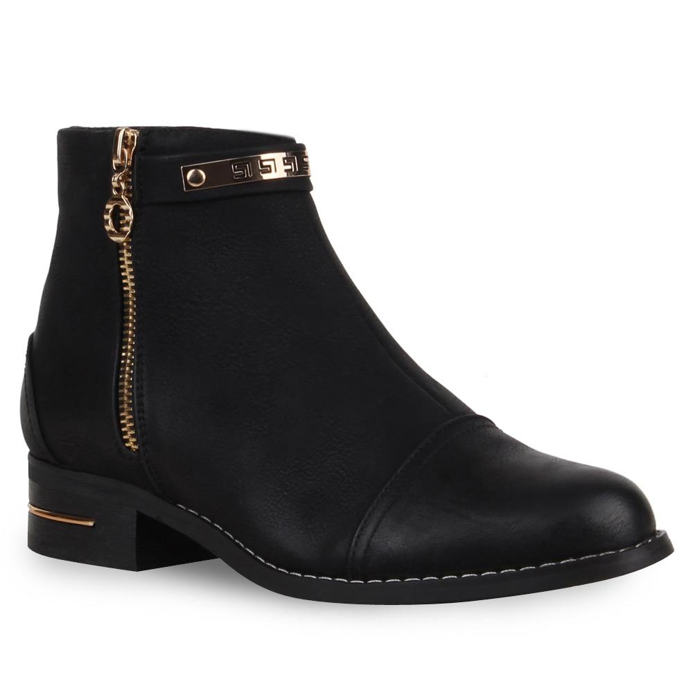 neu damen stiefeletten flache ankle boots zipper schuhe 173 614 ebay. Black Bedroom Furniture Sets. Home Design Ideas