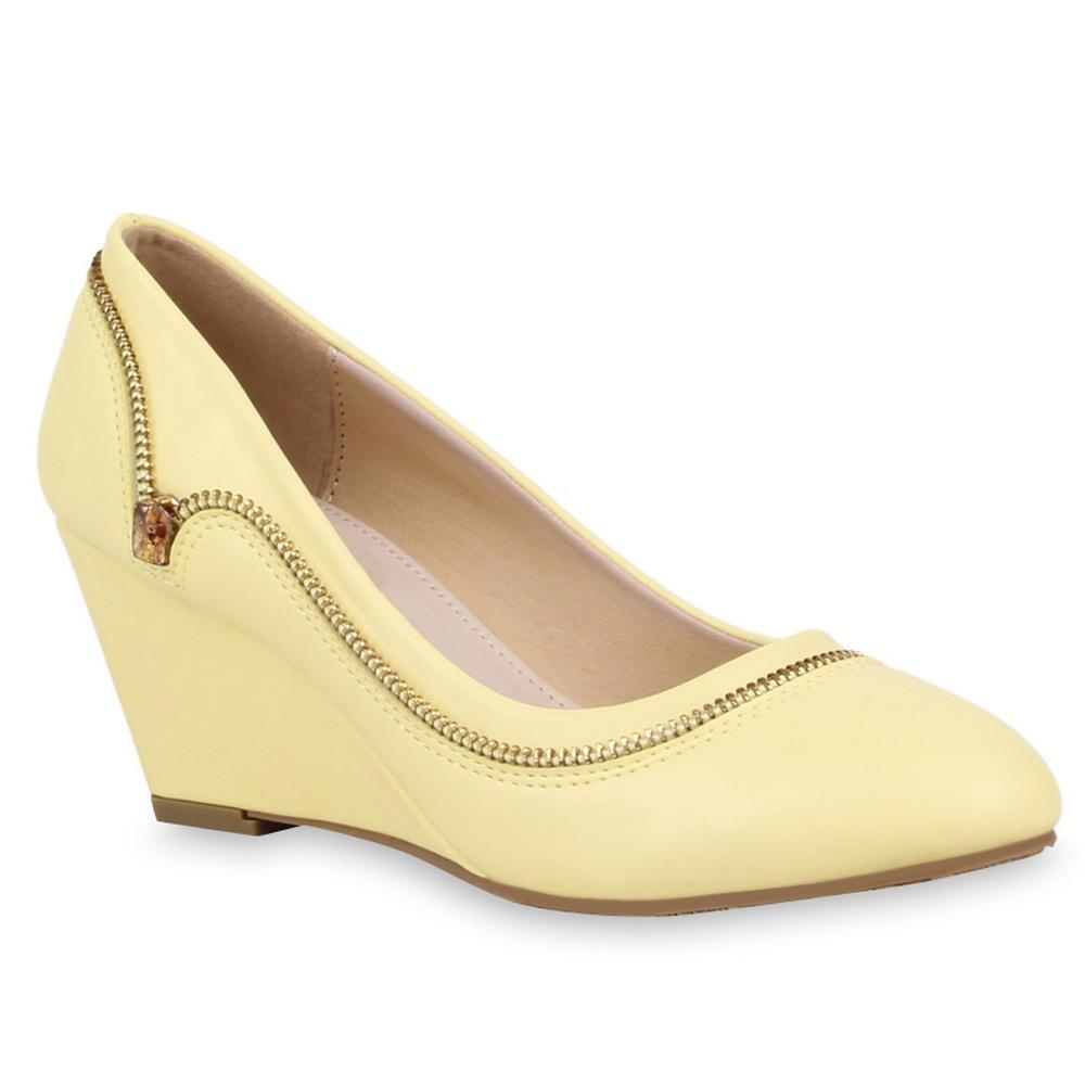 Damen Pumps Pastell Wedges Keilpumps Zipper 74657 Schuhe