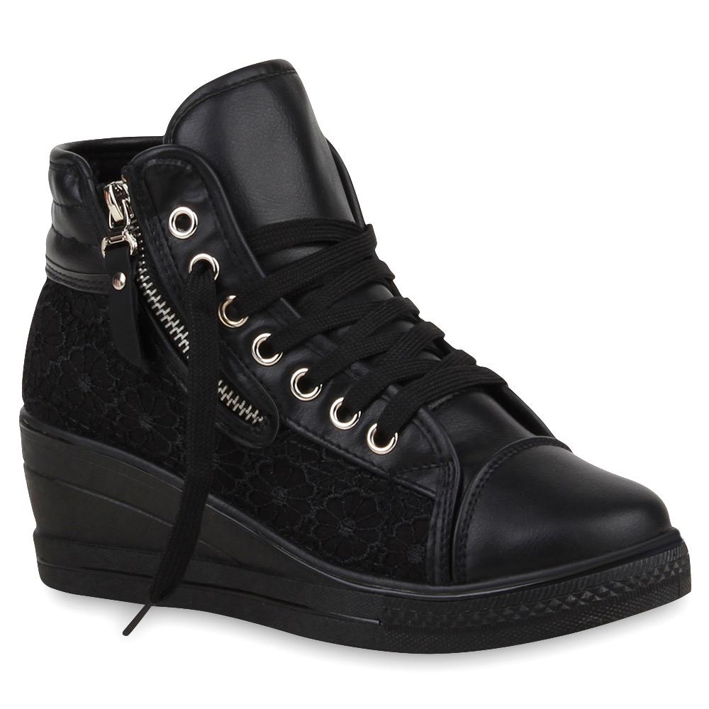damen sneakers sneaker wedges spitze zipper schuhe 74691 trendy ebay. Black Bedroom Furniture Sets. Home Design Ideas