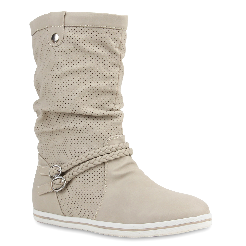 Damen Stiefeletten Schlupfstiefel Flache Übergangs-Schuhe 98206 Gr. 36-42 Top
