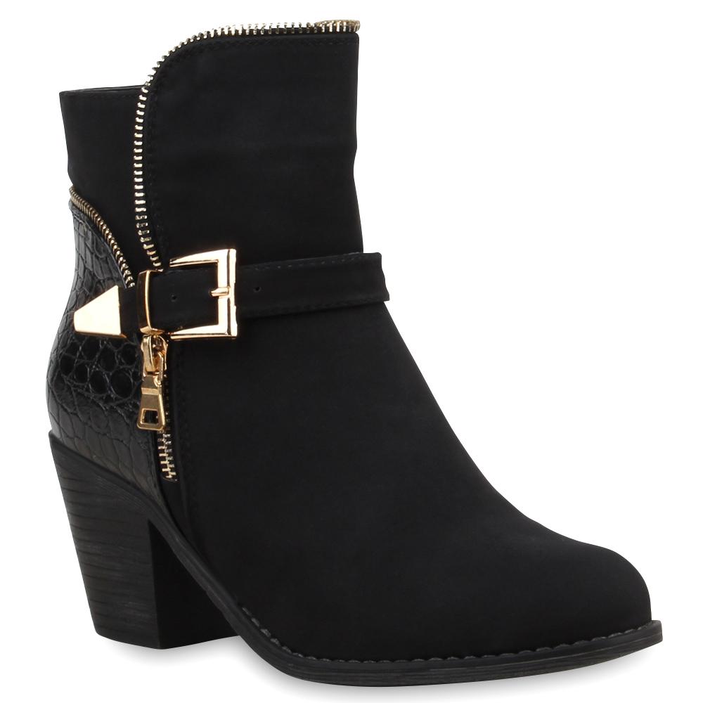 schwarze damen stiefeletten blockabsatz boots zipper 75284. Black Bedroom Furniture Sets. Home Design Ideas