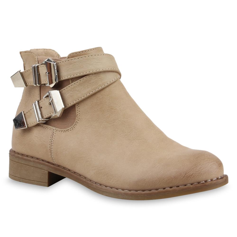 flache damen stiefeletten chelsea boots schnallen schuhe 75317. Black Bedroom Furniture Sets. Home Design Ideas