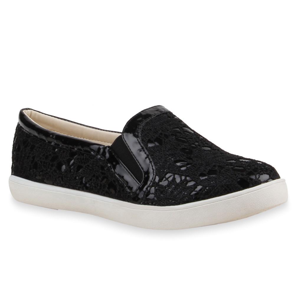 damen sneakers spitze slip ons lack slipper schuhe 75599 ebay. Black Bedroom Furniture Sets. Home Design Ideas