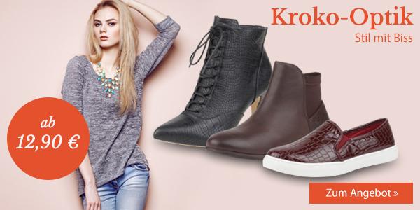 Stil mit Biss: Damenschuhe in Kroko-Optik jetzt bei stiefelparadies.de ab 12,90 Euro!